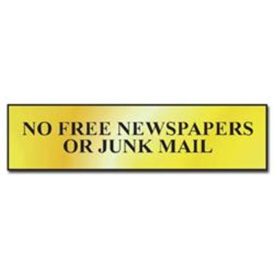 ASEC No Free Newspapers or Junk Mail 200mm x 50mm Metal Strip Self Adhesive Sign Gold - Gold