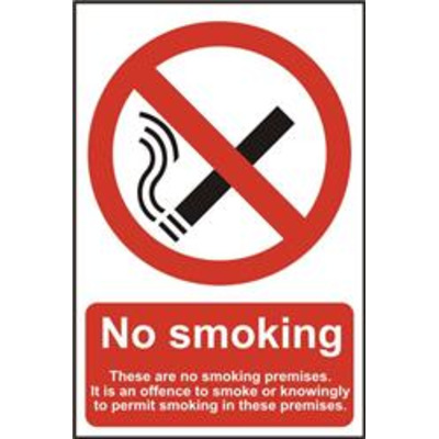 ASEC No Smoking 200mm x 300mm PVC Self Adhesive Sign - Option 3