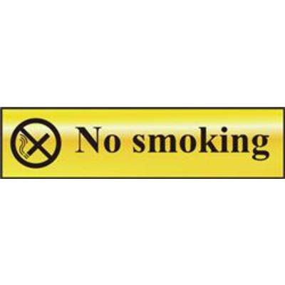 ASEC No Smoking 200mm x 50mm Gold Self Adhesive Sign - 1 Per Sheet
