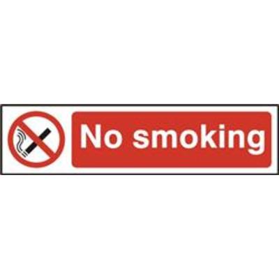 ASEC No Smoking 200mm x 50mm PVC Self Adhesive Sign - 1 Per Sheet