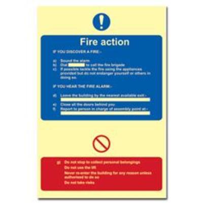 ASEC Photoluminescent Fire Action Procedure Sign 200mm x 300mm - 200mm x 300mm