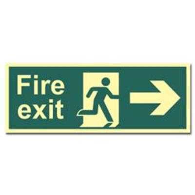 ASEC Photoluminescent Fire Exit Arrow Direction Sign 400mm x 150mm - Right