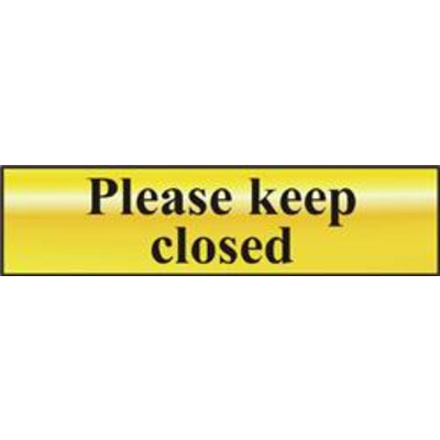 ASEC Please Keep Closed 200mm x 50mm Gold Self Adhesive Sign - 1 Per Sheet