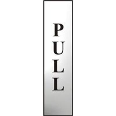 ASEC Pull 200mm x 50mm Chrome Self Adhesive Sign - 1 Per Sheet