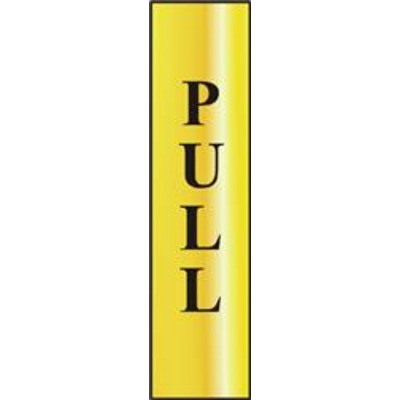 ASEC Pull 200mm x 50mm Gold Self Adhesive Sign - 1 Per Sheet
