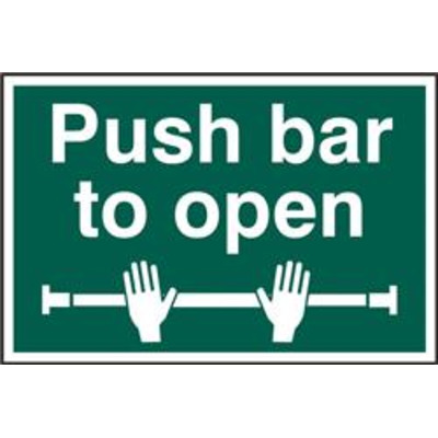 ASEC Push Bar To Open 200mm x 300mm PVC Self Adhesive Sign - 1 Per Sheet