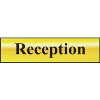 ASEC Reception 200mm x 50mm Gold Self Adhesive Sign - 1 Per Sheet