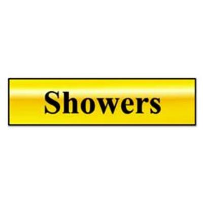 ASEC Showers 200mm X 50mm Gold Self Adhesive Sign - Gold