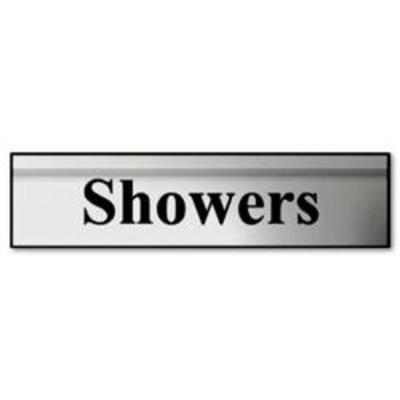 ASEC Showers 200mm X 50mm Silver Self Adhesive Sign - Silver