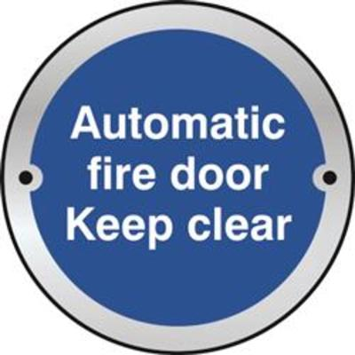 ASEC Sign Automatic Fire Door Keep Clear 75mm - Satin Anodised Aluminium