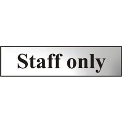 ASEC Staff Only 200mm x 50mm Chrome Self Adhesive Sign - 1 Per Sheet