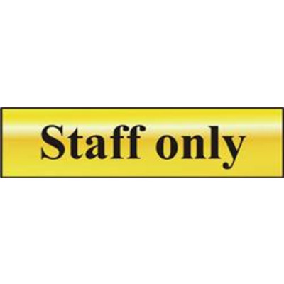 ASEC Staff Only 200mm x 50mm Gold Self Adhesive Sign - 1 Per Sheet
