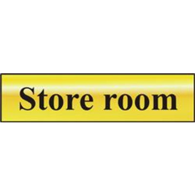 ASEC Store Room 200mm x 50mm Gold Self Adhesive Sign - 1 Per Sheet