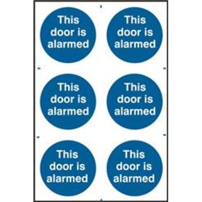 ASEC This Door Is Alarmed 200mm x 300mm PVC Self Adhesive Sign - 6 Per Sheet