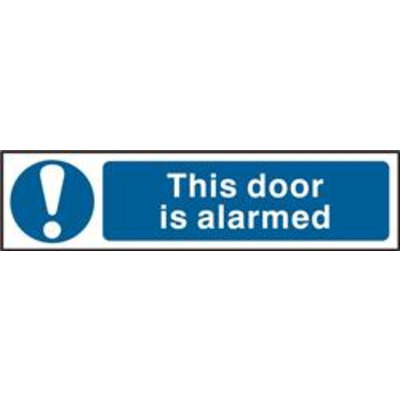 ASEC This Door Is Alarmed 200mm x 50mm PVC Self Adhesive Sign - 1 Per Sheet