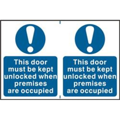 ASEC This Door Must Be Kept Unlocked When Premises Are Occupied 200mm x 300mm PVC Self Adhesive Sign - 2 Per Sheet