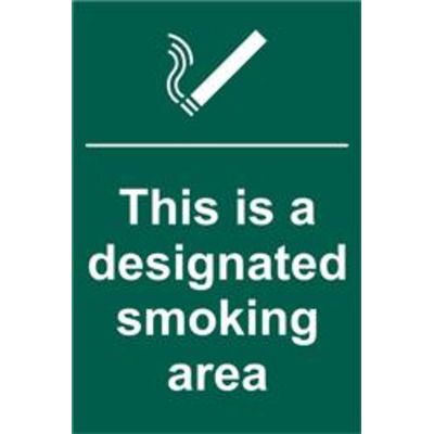 ASEC This Is A Designated Smoking Area 200mm x 300mm PVC Self Adhesive Sign - 1 Per Sheet