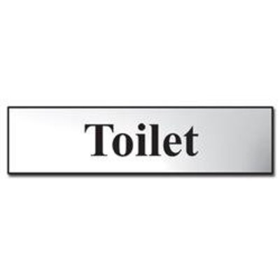 ASEC Toilet 200mm x 50mm Metal Strip Self Adhesive Sign Chrome - Chrome Effect