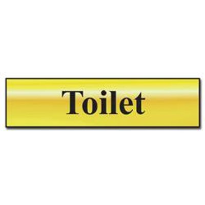 ASEC Toilet 200mm x 50mm Metal Strip Self Adhesive Sign Gold - Gold