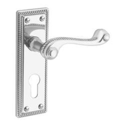 ASEC URBAN Classic Victorian Plate Mounted Euro Lever Furniture - Polished Nickel (Visi)