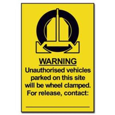 ASEC Unauthorised Vehicles Will Be Clamped Sign 200mm x 300mm - 200mm x 300mm