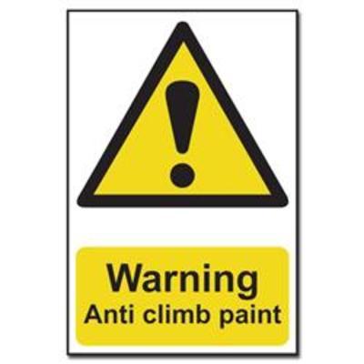 ASEC Warnin Anti Climb Paint Sign 200mm x 300mm - 200mm x 300mm