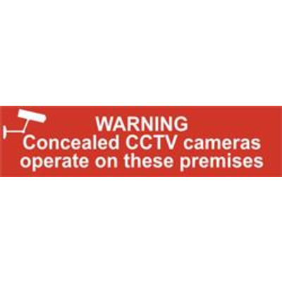 ASEC Warning Concealed CCTV Cameras Operate On These Premises 200mm x 50mm PVC Self Adhesive Sign - 1 Per Sheet