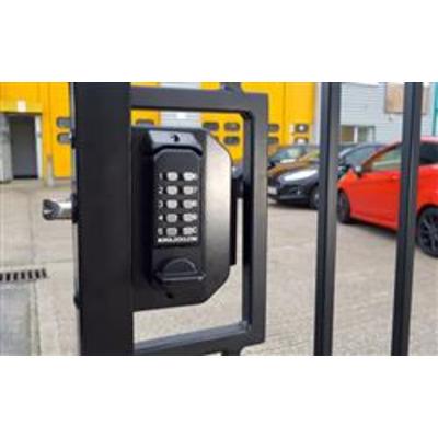 BL3080 ECP, Mini gate lock with knob keypad, inside push-pull pad - Left hand