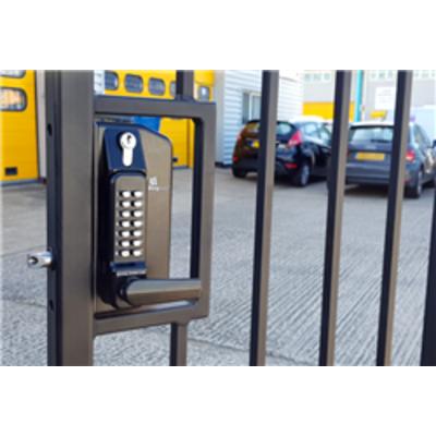 BL3400DKO ECP Metal Gate Lock with free turning lever ECP keypad, Inside holdback lever handle & key override