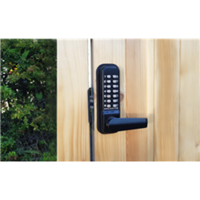 BL4402 ECP MG, free turning lever handle keypad, inside holdback lever handle 28mm ali latch