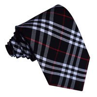 Black & White with Red Tartan Classic Tie