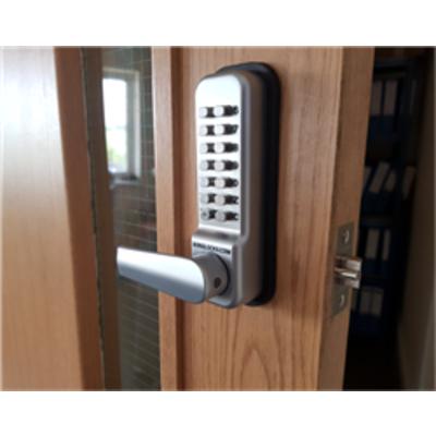 Borg Locks BL2402 ECP – 28mm ali latch, free turning lever handle keypad, inside lever handle with optional holdback & ECP coding chamber - 28mm ali l