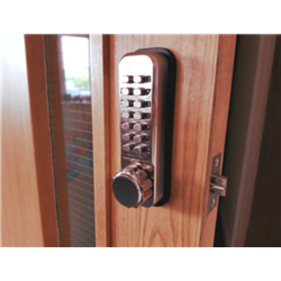 Borg Locks BL2501 Tubular latch, knurled knob keypad, inside paddle handle with holdback - 50mm Tubular Latch