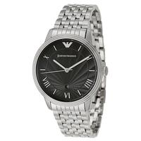 Emporio Armani AR1614 Mens Black Dial Silver Stainless Steel Watch
