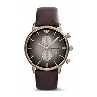 Emporio Armani AR1755 Mens Black Retro Chronograph Steel Watch