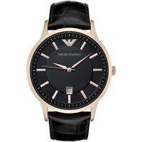 Emporio Armani AR2425 Mens Black Leather Strap Watch