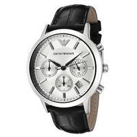 Emporio Armani AR2432 Chronograph Black Leather Strap Mens Watch