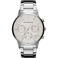Emporio Armani AR2458 Mens White Chronograph Stainless Steel Watch
