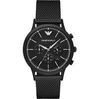 Emporio Armani AR2498 Mens Black Chronograph Mesh Stainless Steel Watch