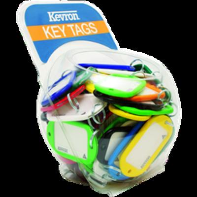 KEVRON ID10 Jumbo Key Tags Counter Tub 60pcs Assorted Colours - Assorted Colours x 60