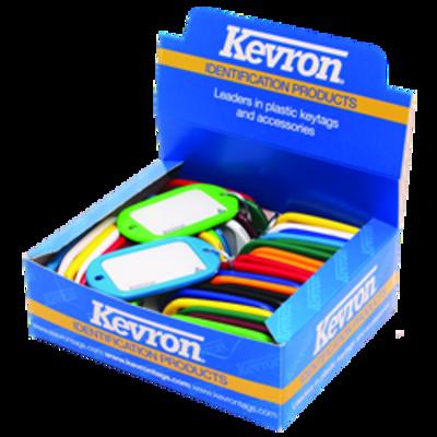 KEVRON ID10 Jumbo Key Tags Tub of 40 Assorted Colours - Assorted Colours x 40
