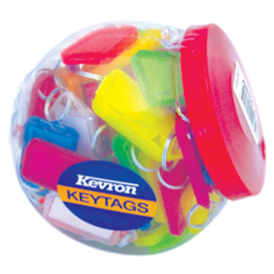 KEVRON ID30 Giant Tags Display Tub 70pcs Assorted Colours - Assorted Colours x 70