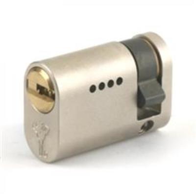 Mul T Lock Integrator UK Half Oval Cylinders - Satin Steel