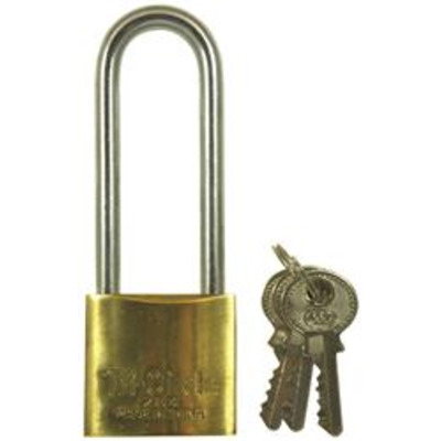 Tri Circle Long Shackle Brass Padlocks - Keyed to differ