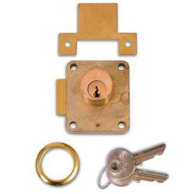 YALE 076S Cylinder Straight Cupboard Springlock - 22mm PB KD LH Bagged